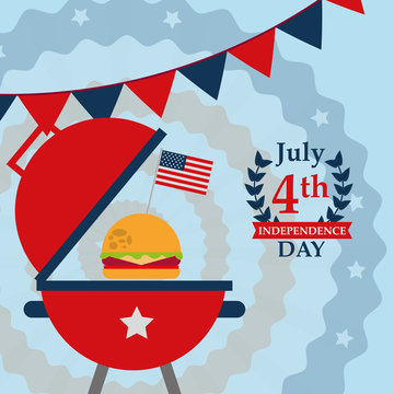 food american independence day color pennants grill with hamburger usa flag vector illustration