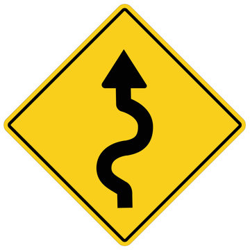winding road sign on white background. flat style. winding road symbol.