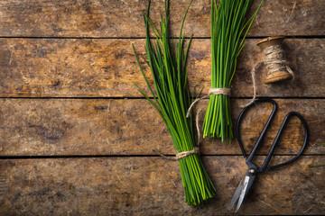 Fototapeta fresh chives on wooden rustic background obraz