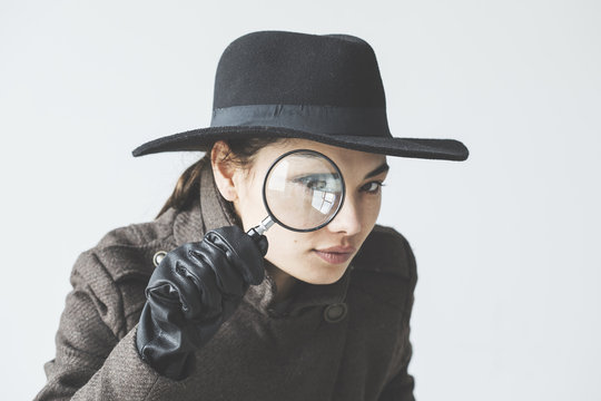 Woman with the magnifying glass