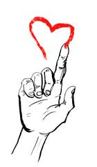 Hand malt rotes Herz in die Luft als Ehe und Heirat Konzept