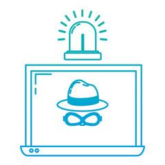 degraded line laptop with hacker internet virus and siren
