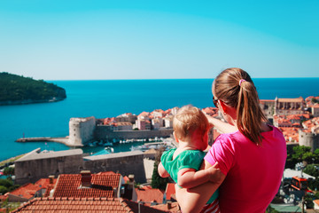 mother and little daughter looking at Dubrovnik, Croatia