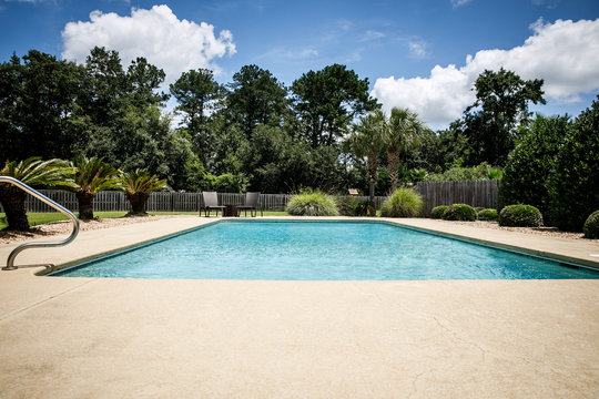 Residential Backyard Pool in the Suburbs