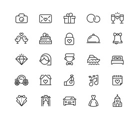 Wedding vector icon set in line style. 64x64 Pixel perfect.