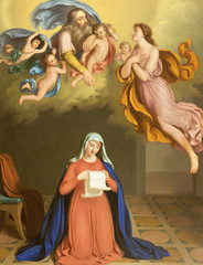 PARMA, ITALY - APRIL 12, 2018: The paint of Annunciation in church Chiesa di San Agostino from probably by Cugini di Cremona from 19. cent.