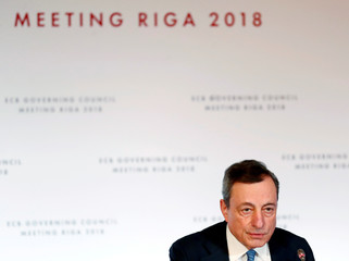 President of the European Central Bank Mario Draghi speaks during the news conference in Riga