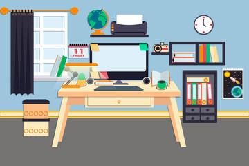 Workplace vector illustration. Desktop pc with different office devices. Online education. Comfortable place for study