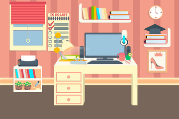 Workplace vector illustration. Desktop in lovely comfortable room. Online education. Comfortable place for study