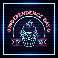 american independence day delicious cupcake dessert neon vector illustration