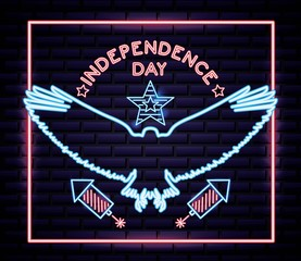 american independence day eagle open wings neon rockets usa vector illustration