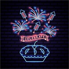 american independence day cake with ribbon celebrate neon rockets fireworks vector illustration