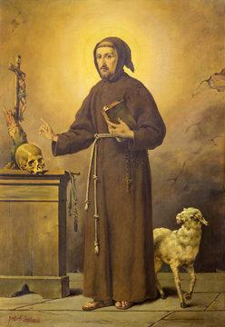 REGGIO EMILIA, ITALY - APRIL 12, 2018: The painting of St. Francis of Assisi  in church Chiesa dei Cappuchini by Raffaele Gagliardi from 20. cent.