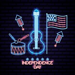 american independence day neon guitar flag drum rockets sign vector illustration