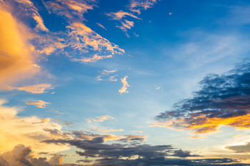 blue sky background texture with white clouds sunset.