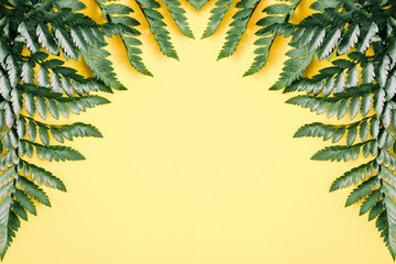 Tropical leaves on yellow background. Minimal concept. Summer background. Flat lay, top view, copy space