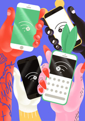 Illustration of cell phones showing no wifi service