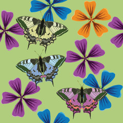 Texture of flowers and butterflys. Seamless pattern