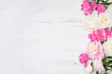 White and pink peonies on white wooden background. Holiday background, copy space, top view.