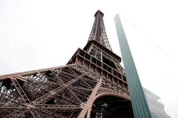 The new glass security fence, that is under constructioni, is seen around the Eiffel Tower in Paris
