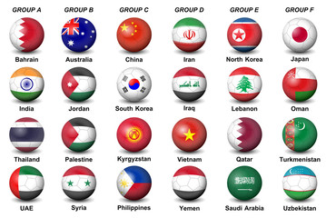 soccer balls flags countries final tournament 2019 football AFC asian Cup UAE