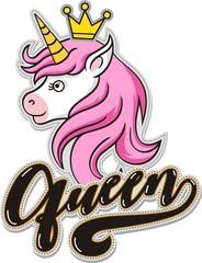 Queen, unicorn head mascot, vector illustration