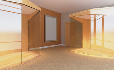 Front view of an office interior with a row of dark wood tables. 3D rendering.. Blank paintings.  Mockup.