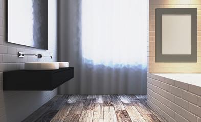 Blank paintings.  Mockup. Modern bathroom including bath and sink. 3D rendering.