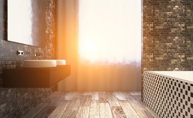 Sunset. Bathroom interior bathtub. 3D rendering.