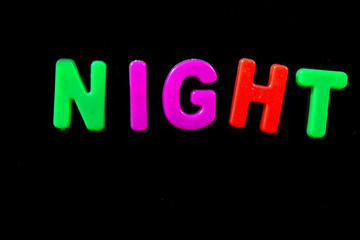 English letters in black background are the words night.