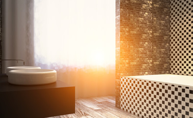 Sunset. Clean and fresh bathroom with natural light. 3D rendering.