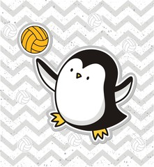 Cute  penguin playing volleyball