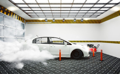 Garege interior with white car and smoke effect on room white wall and tiles floor design. 3D rendering