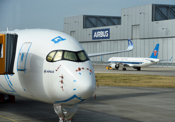 An Airbus A350 plane is seen at the Airbus plant in Hamburg