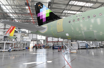 General view in a new A320 production line at the Airbus plant in Hamburg