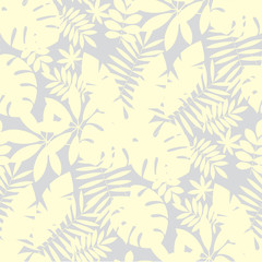 Pale ivory color tropical leaves seamless pattern