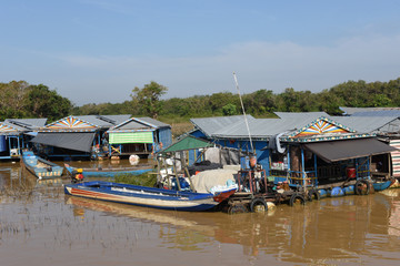 The floating village on the water of Tonle Sap lake
