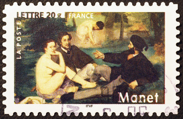 Masterpiece Dejeuner sur l'herbe by Manet on postage stamp