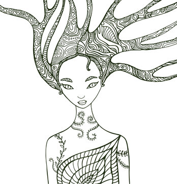 Fantasy forest woman coloring page.
