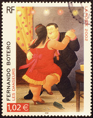 Painting by Botero on french postage stamp