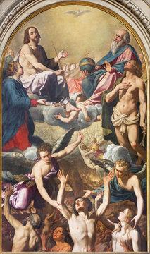 MODENA, ITALY - APRIL 14, 2018: The painting of the holy Trinity, Virgin Mary, St. Sebastinan and the souls in purgatory in church Chiesa di Santa Maria della Pomposa by Giovanni Boulanger (1659).