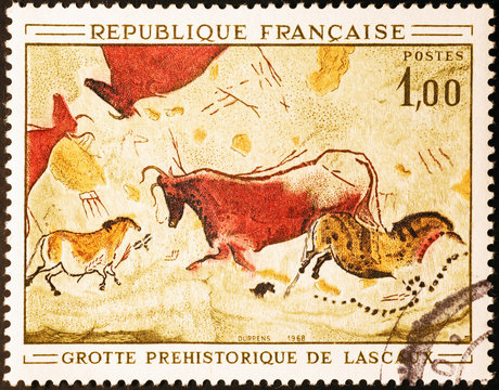 Prehistoric depictions of Lascaux on french postage stamp