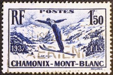 Vintage stamp showing a ski jumper in Chamonix