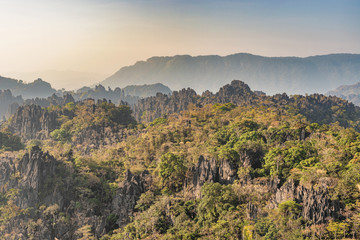 Limestone forest landscape in Laos.