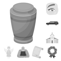 Funeral ceremony monochrome icons in set collection for design. Funerals and Attributes vector symbol stock web illustration.
