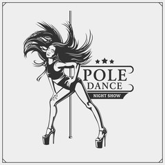 Pole dancer emblem. Girl on the pole.