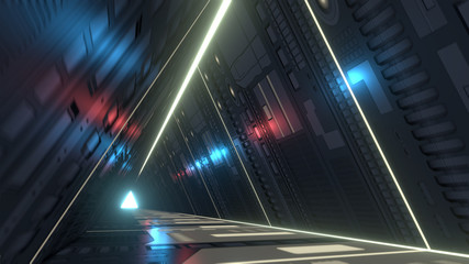 Sci fi corridor with infra-red and ultraviolet lights. 3D rendering