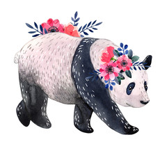 Watercolor panda with flowers isolated on a white background. Watercolor illustration.