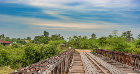 Bridge over tributary of the Mekong river.