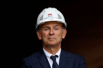 Laurent Castaing, President of STX France, attends a visit at the STX shipyard site in Saint-Nazaire